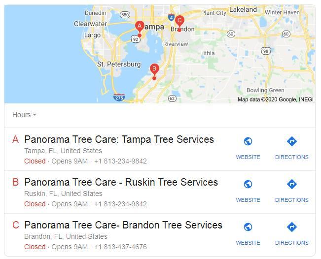 panorama tree care services for local listing
